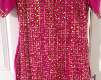 Hot pink beaded indian dress