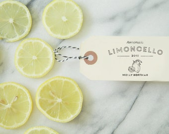 Limoncello Tag - Rubber Stamp - Lemonade Stand - Homemade - Recipe Cards - Packaging - Lemons - Citrus Stamp - Product Label - Kids Birthday