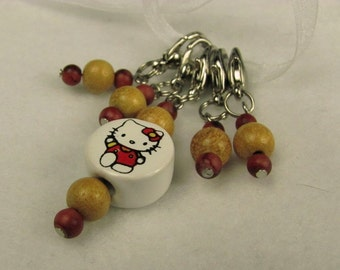 Hello Kitty Ceramic and Upcycled Wood Beads Stitch Markers for Knit or Crochet