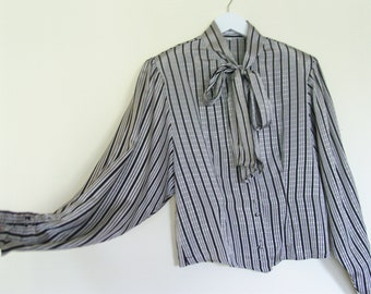 Vintage bow gray stripped blouse silky large 40 size, retro fashion with buttons