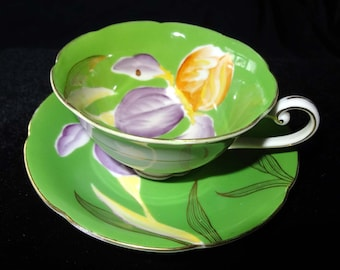 Tea Cup Saucer Occupied Japan Trimont China Iris Gold Leaf Home and Garden Kitchen and Dining Tableware Drinkware Coffee and Tea Cups