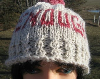 Hand knit ENOUGH Hat for Men and Women, Protest Cap, Alpaca Hat with Pom Pom