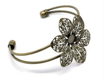 1pc antique bronze filigree bracelet setting-5681