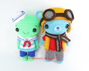 PATTERN 2-PACK: Basil the Bear and Tarragon the Tortoise Crochet Amigurumi Dolls