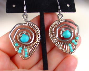 Sterling Silver Turquoise Earrings - Silver Wire Wrapped Earrings - Turquoise Earrings