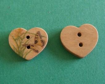 set of 2 wooden buttons heart 15mmx17mm