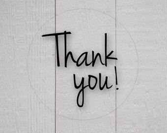 Thank You Sticker, Transparent Thank You Stickers, Clear Stickers, Business Branding (#160-C)