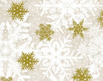 Snowflake Fabric, White and Gold Metallic Snowflakes, Christmas Fabric - Quilting, Clothing, Crafts - Cotton Sewing Material, By The Yard