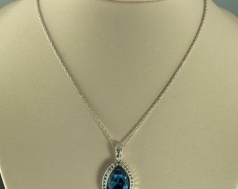 RMN Blue Rhinestone Necklace