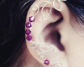 Crystal Vine Ear Cuff Ear Climber in Custom Colors, No Piercing, Bohemian Fairytale Wedding, Bridesmaid Gift Jewelry, Bridal Ear Cuff