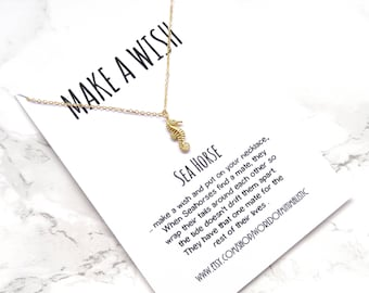 Sea horse necklace, mermaid necklace, beach necklace, make a wish necklace, dainty minimalist necklace, delicate simple everyday necklace