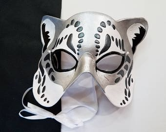 Leather Snow Leopard Mask - Made to Order