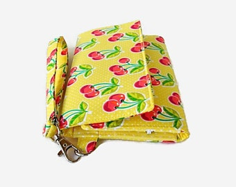 Padded Phone Wristlet Wallet - Yellow Trifold Wallet - Cherry Print Smartphone Wristlet -  Phone Pouch -  Cell Phone Wallet - Clutch