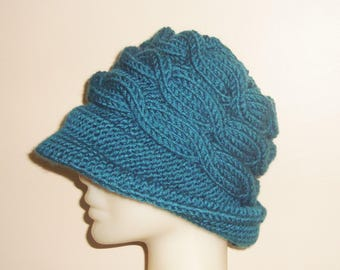 Hand Knitted Hat with Brim - Teal - Winter - Cloche - Cable Knit - Bucket - Fedora - Beanie