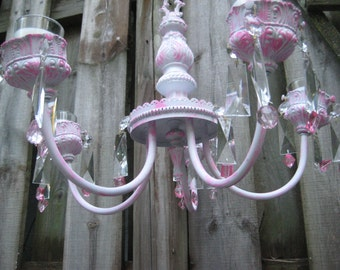Distressed pink candle chandelier, crystal chandelier, vintage mid century chandelier, votive candles, mid century, one of a kind, 1100