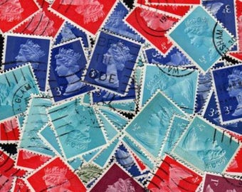 100 UK Queen Elizabeth Stamps, Rainbow Stamps, Rainbow Postage Stamps, Postage Stamps, Queen Elizabeth, Stamps, Queen Postage Stamps
