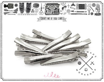 25PCS 45X8MM Blank metal hair clip alligator clip accessories