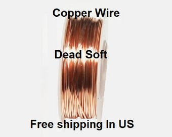 1 Oz Round Solid Copper Wire ( Dead Soft ) On Spool - 99.9% Pure Copper ( Gauges -18 - 20 - 22 - 24 - 26 - 28 - 30 )