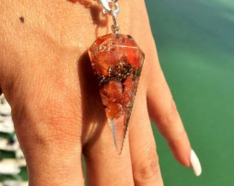 Orgone Pendulum Bracelet /  Carnelian Orgone Jewelry w/ Reiki