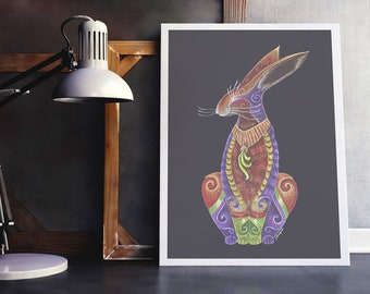 Hare print, Hare Art, Happy Hare Art Pint, Cute Rabbit print, Hare Totem print, Hare Spirit Animal Print