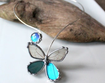Sterling Silver Real Mixed Butterfly Necklace, Natural History Necklace, Blue Butterfly Torc