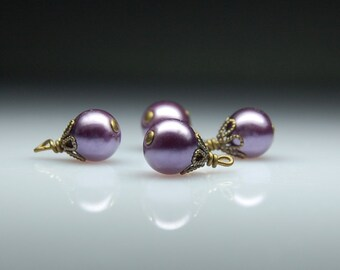 Vintage Style Bead Dangles Purple Glass Pearls Set of Four PR25