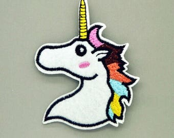 "Unicorn Iron on Embroidered patch (W=2.0"" L=2.75"")"