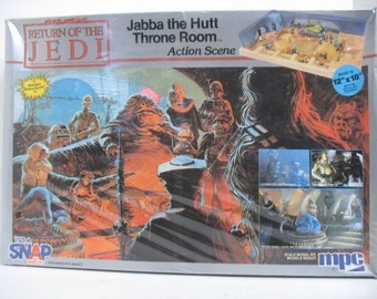1983 Return of The Jedi Jabba the Hutt Throne Room Model Kit, Still Sealed in Box, MPC Star Wars