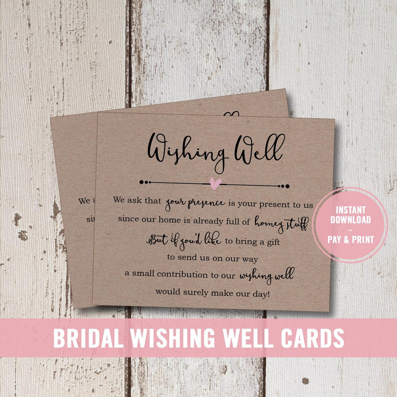 Wedding Wishing Well Invitations: Wedding Wishing Well Card Printable Bridal Shower Wishing