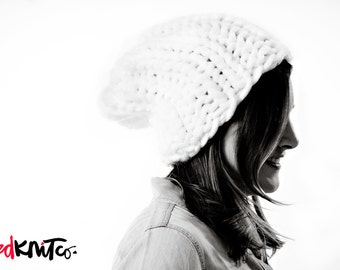 WHITE DUBLIN hat...Vegan knit hat, chunky knit toque, chunky knit, knit toque, knit beanie, knit hat, vegan knit, vegan gift.