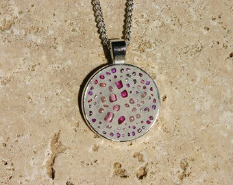Pink glass beads mosaic pendant necklace, seal color light grey and silver chain.