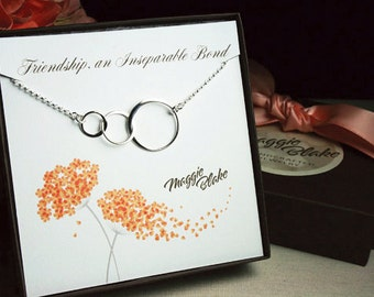 Best friends necklace, past present future necklace, 3 circle necklace, three circle necklace, friendship necklace, best friends 3, friends