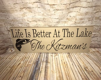 """SALE Personalized Outdoor Use Sealed Wooden Lake House Trout Fish Fishing Sign 8x20"""""""