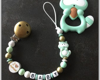 Pacifier clip personalized mixed Aqua (mint) green and gold ring silicone teether