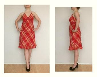 Red dress L - check pattern - vintage