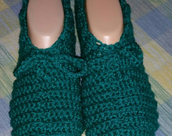 Crochet Womens Slippers in Teal