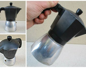 Bialetti four cup stove top espresso percolator, 1980s- 90s, vintage Bialetti espresso maker, vintage Italian espresso maker.