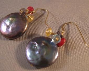 Gemstone Cluster Earrings,drop earrings,dangle earrings,gemstone earrings,pearl earrings,gold earrings,coin pearl, pearl, earrings,gemstone