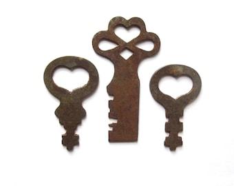 3 Vintage skeleton key Vintage heart keys Little heart keys Love is the Key to My Heart Wedding keys Bride Groom Gift Old heart keys #34