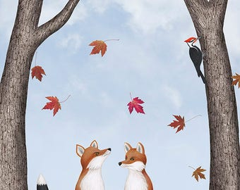 foxes, falling leaves, & pileated woodpecker - art print 8X10 inches by Sarah Knight, black red bird orange fox leaf litter nature scene