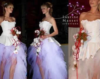 Star of snow white leather wedding dress