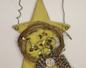 Star Hanger, Primitive Americana, Wood Stars, Country Farmhouse Accents