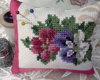 Finished Cross stitch violets pin cushion/Floral pin Cushion