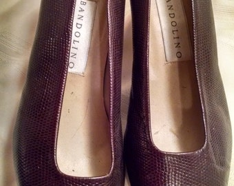 Bandolino Textured Leather Faux-Snakeskin, Brown Pumps, Size 10 M,  ECS