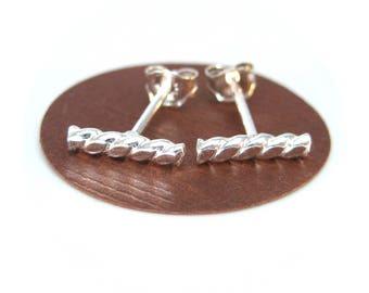 Silver Twisted Bar Stud Earrings