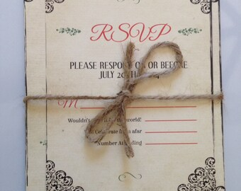 Rustic Vintage Antique Jute Rope Tie Corner Embellishment Wedding Invitations