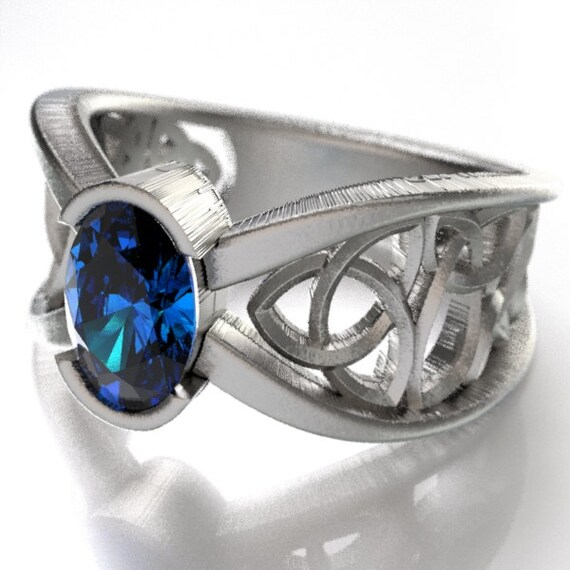 Celtic Wedding Ring With Blue Sapphire and Trinity Knotwork Design in Sterling Silver, Made in Your Size CR-1023