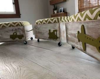 Set of Three Children's Toy Boxes/Ottomans/Kids Seat