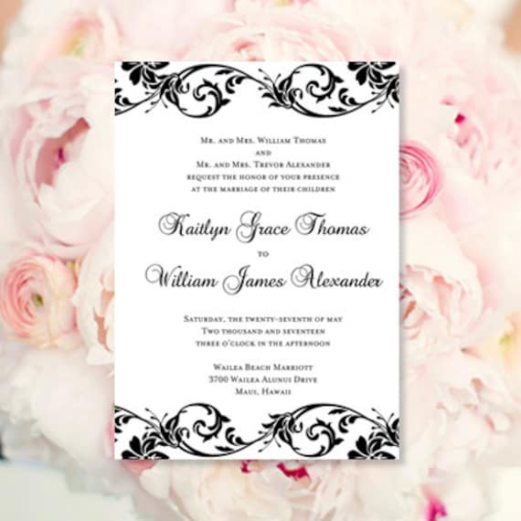 Black White Wedding Invitations Tropical Damask