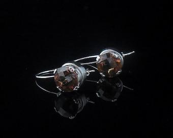 Whiskey Quartz Drop Earrings - 10mm - Sterling Silver